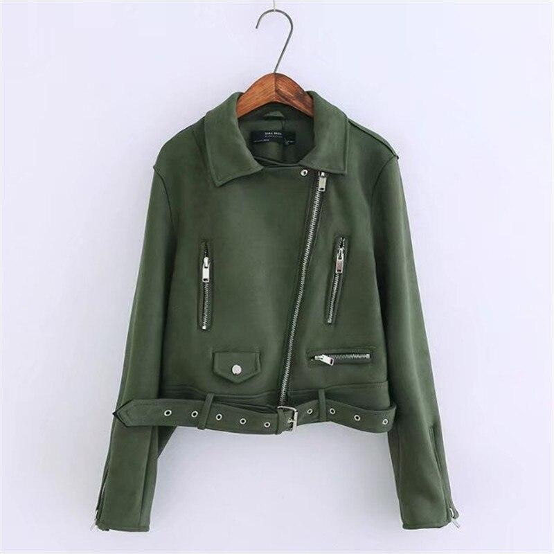 2018 Women Moto&Biker Faux   Leather   Jacket Chamois Velvet   Leather   Jacket Female XS S M L Fashion Solid Zipper Chain Lady Jackets