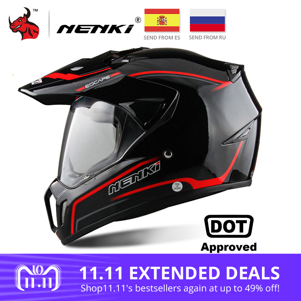 NENKI Black Motorcycle Helmet Motorcycle Full Face Helmet Motocross Men's Adventure Downhill DH Racing Casco Moto Helmet DOT стоимость