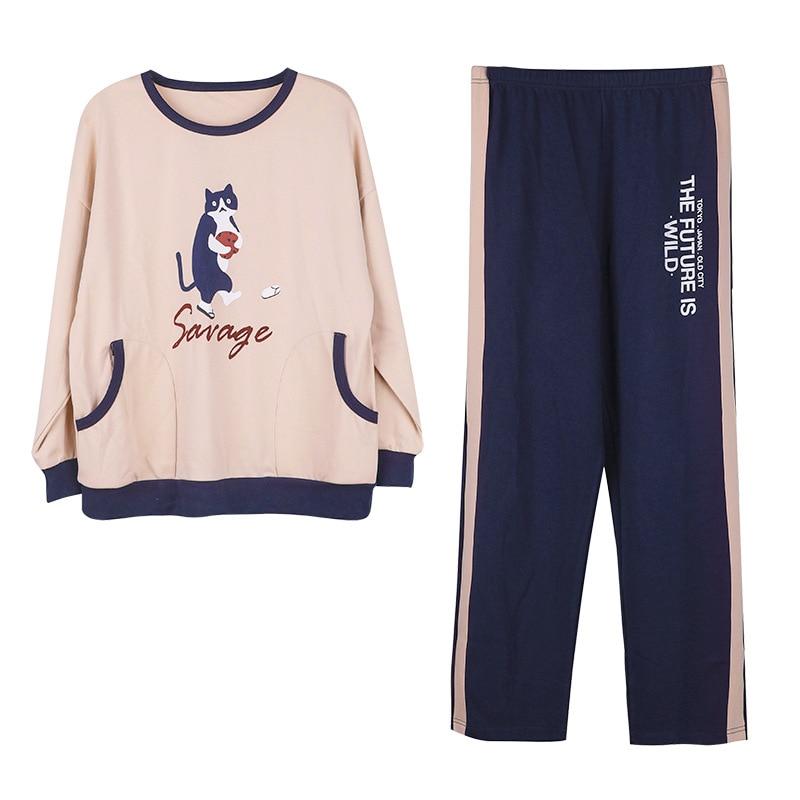Pajamas Set Women Girls Cotton Long Sleeve T-shirt Pants Set Pijamas Female Spring Autumn Sleepwear Nightgown Pijama Femme M-3XL 53