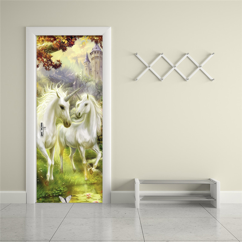 Papel De Parede 3D Classic White Horse Forest Wallpaper Living Room Study Home Decor Door Mural Sticker Vinyl Waterproof Sticker blue sky white clouds photo wallpaper custom ceiling mural hotel dining room living room frescoes home decor papel de parede 3d