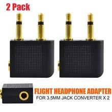 Headphones Adapter 2 X Airplane Flight Headphone Adapters For 3.5mm Pl