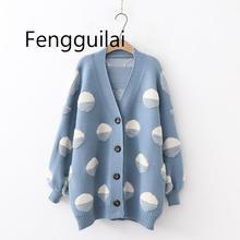 дешево!  Женские длинные свитера и кардиганы Трикотажные куртки Свитера негабаритных пончо на пуговицах Сво�