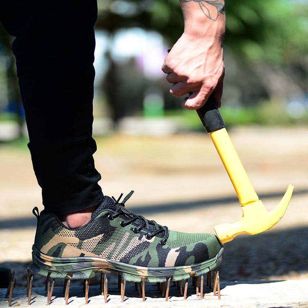 Botas de trabajo con puntera de acero de talla grande para hombre de construcción zapatos de seguridad a prueba de pinchazos de camuflaje transpirables