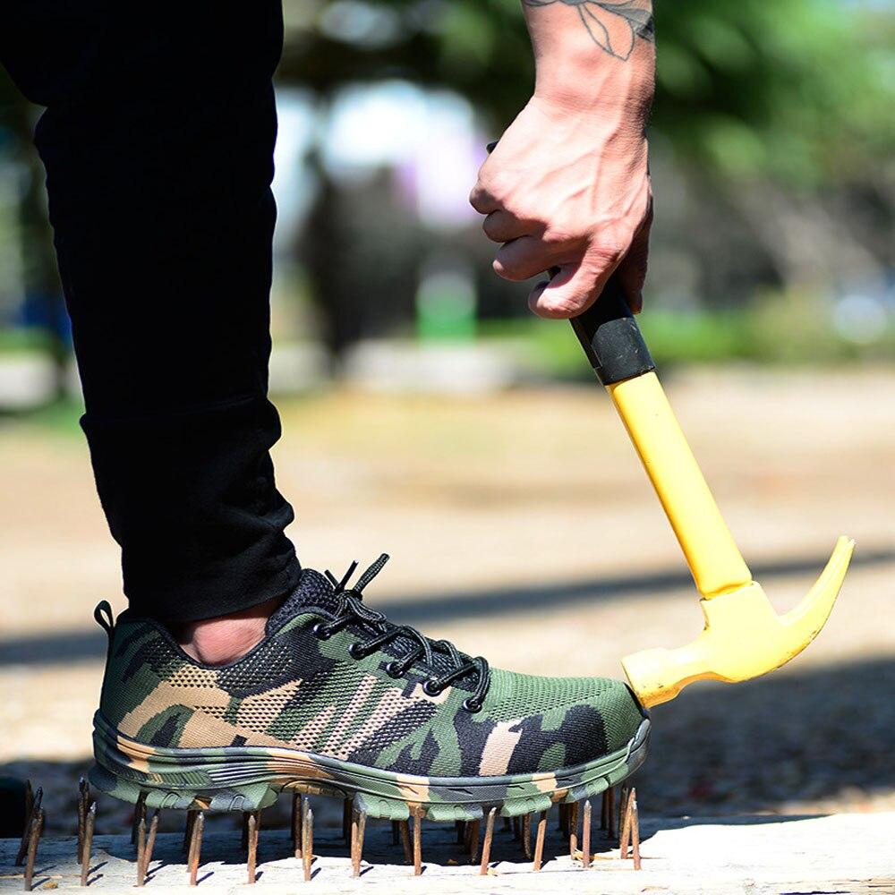 Construção Ao Ar Livre dos homens Plus Size Sapatos Botas de Trabalho Biqueira de Aço Homens Camuflagem Sapatos de Segurança Respirável À Prova de Punção
