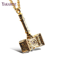 YAKAMOZ 2 Color Hip Hop Thor Hammer Pendant Necklace Stainless Steel Vintage Choker For Male Friendship