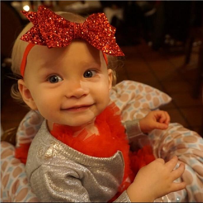 TWDVS Baru Lahir Shiny Bow Knot Hair band Anak Perempuan Elastis Bow - Aksesori pakaian - Foto 2