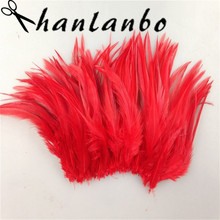 50pcs/lot dye red rooster tail feather Height  6-8 clothing make hat decor Rooster Feathers plumage fly fishing