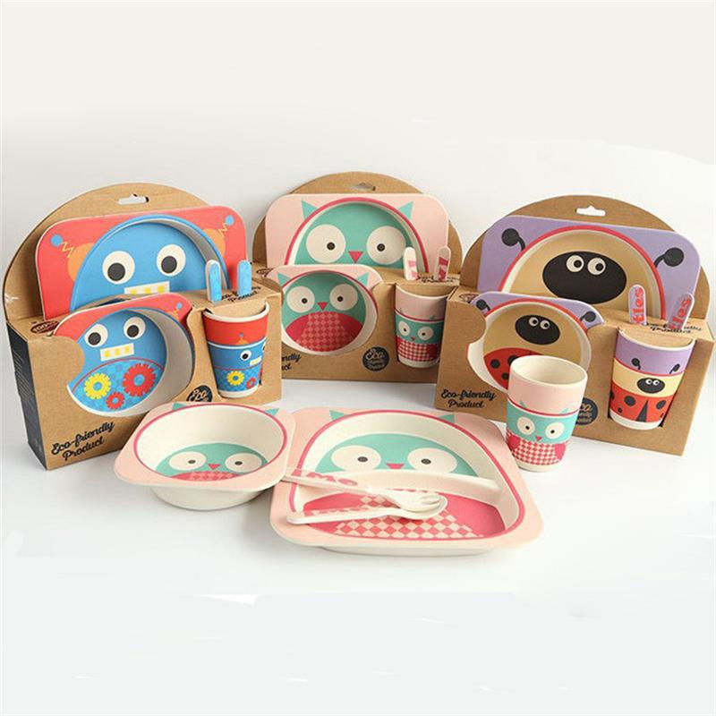 Baby Kids Safe Bamboo Fibre Dinnerware Eco Friendly dishes Plate Square Bowl <font><b>Cup</b></font> Spoon fork <font><b>Zoo</b></font> <font><b>Animal</b></font> prato platos infantil
