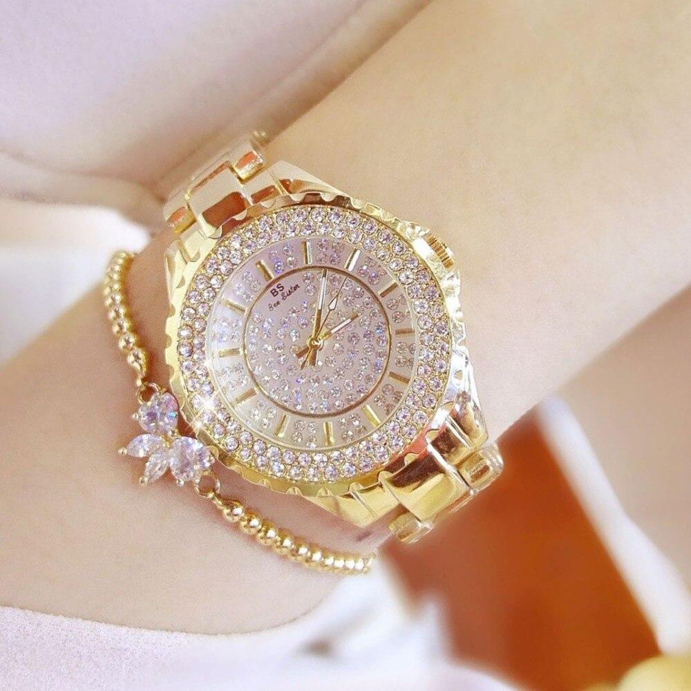 2017 gold watch women watches luxury brand new geneva ladies quartz rhinestone wrist watches for Celebrity watches female 2017