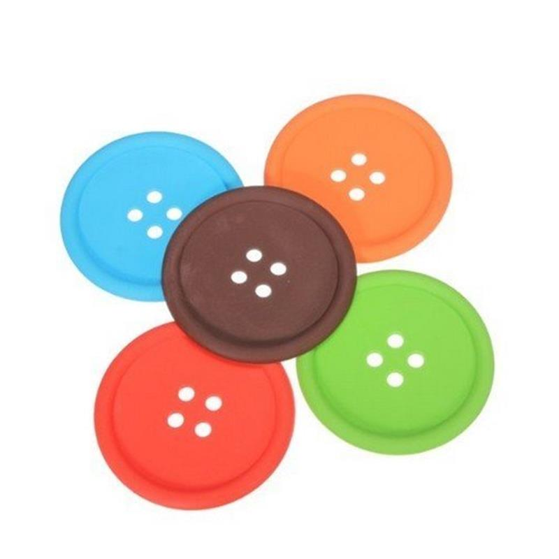 4 Pcs Cute Silicone Coasters Creative Button Shape Cup Mats Pads Heat Insulating Protect The Table Non-Slip Multicolor Randomly