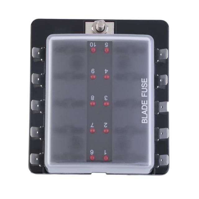10 Way Circuit Car Automoción ATC ATO Fusible Caja De Medio Tamaño De La Hoja