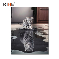 RIHE Cat Reflection Tiger Diy Painting By Numbers Animal Oil Painting On Canvas Hand Painted Cuadros Decoracion Acrylic Paint