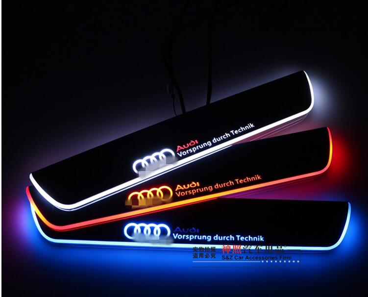 eOsuns LED moving door scuff Nerf Bars & Running Boards door sill For Audi A4 B9 S4 RS4 2013-2015, moving light free ship rear door of high quality acrylic moving led welcome scuff plate pedal door sill for 2013 2014 2015 audi a4 b9 s4 rs4