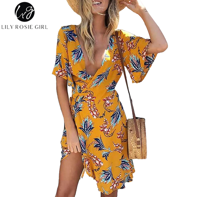 cd064e04c177d8 Lily Rosie Girl Yellow Print Wrap Dress Flare Short Sleeve Floral Mini  Women Summer Dresses 2019