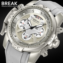 BREAK Unique Men Luxury Brand Casual Fashion Rubber Band Sport Wristwatches Man Quartz Chronograph Army Waterproof