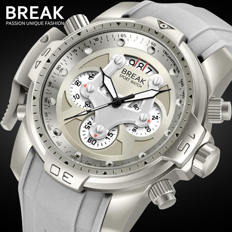 BREAK Unique Men Luxury Brand Casual Fashion Rubber Band Sport Wristwatches Man Quartz Chronograph Army Waterproof Watches reloj