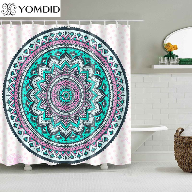 Indian Mandala Shower Curtain Flower Printed Geometric Bohemian Bathroom Curtains Wall Hanging