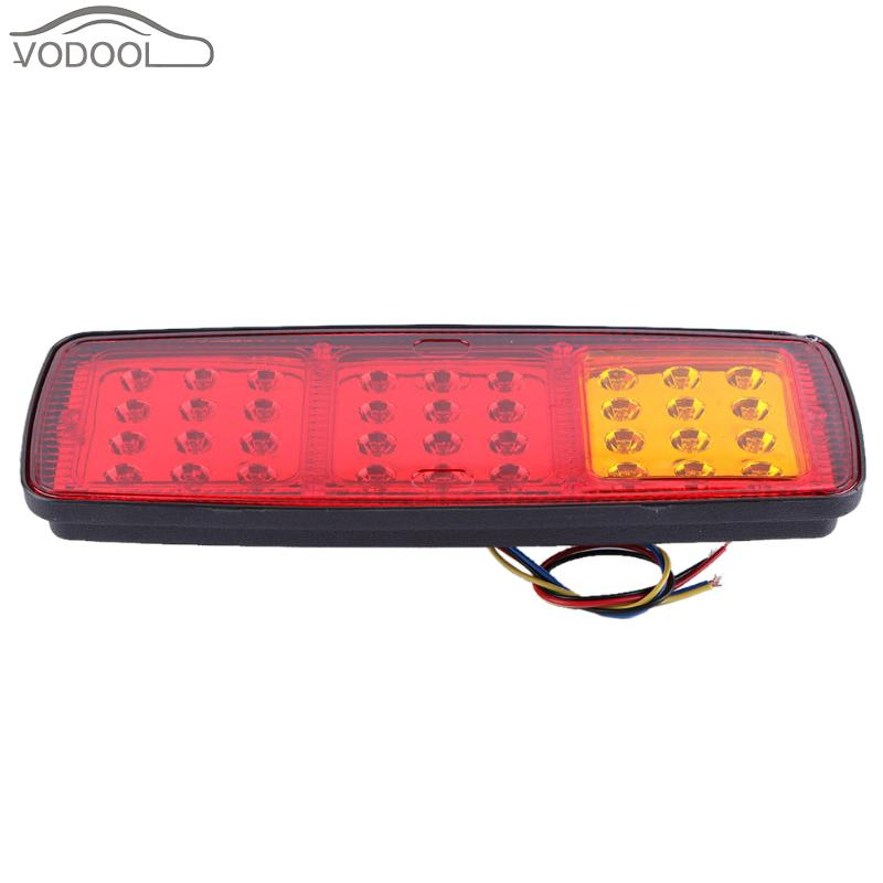 24V 36 LEDs Auto Car Truck Trailer LED Taillight Lamp Automotive Rear Red Amber Yellow Light-emitting Diode Tail Light Accessory 1 pair 24v 36 led trailer car truck led tail light lamp auto rear light tail light