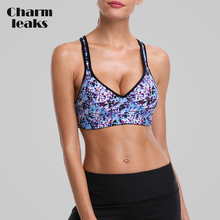 Charmleaks Women Sports Bra Medium Impact Floral Print Backcross Yoga Bra Padded Outdoor Running Bra Underwear Fitness Sport Top