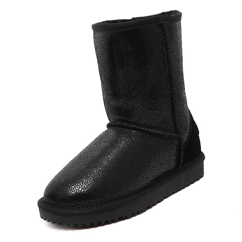 Winter Australia women's snow boots shoes woman and men casual flat warm sheepskin 100% wool genuine leather ankle boots 2016 australia genuine sheepskin leather