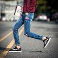 2016 Calças de Brim dos homens Novos Chegou Calças Lápis Slim Denim Motociclista Hiphop Calças Skinny Estilo Japonês Para O Sexo Masculino