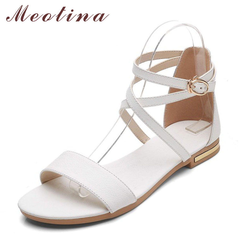 fa4475c7192 Meotina Genuine Leather Women Sandals Block Heel Flat Sandals Open Toe  Buckle Summer Shoes Female 2018 Black White Size 33-46 11