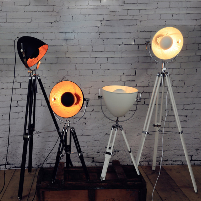 Vintage tripod floor lamp wood holder handcraft e27 for Cheap tripod lamp