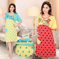 2016 Polka Dot Summer For Pregnant Women Maternity Wear Dress Clothing For Feeding Pajama Nursing Clothes Comfort Nightgown