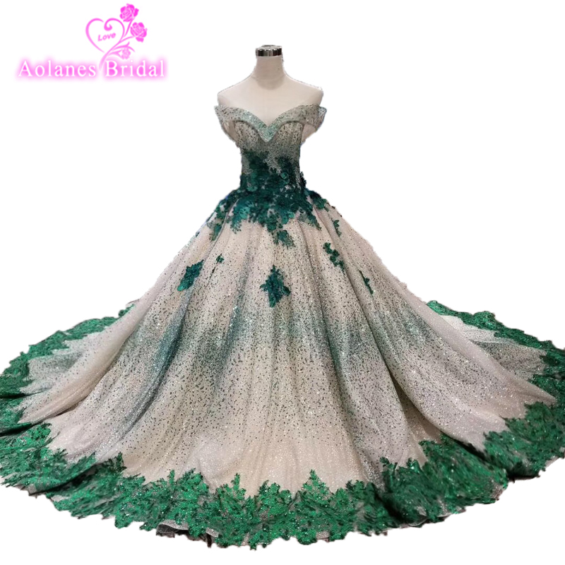 Green Lace   Prom     Dresses   Evening   Dresses   Large Size Ball Gown Evening Tulle Crystals Beads Party Gown 2019 Vestido De Festa Longo