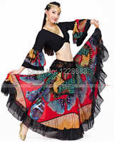 Long Gypsy Skirts Women Bellydance Skirt Belly Dance Maxi Skirt Full Circle Red And Pink