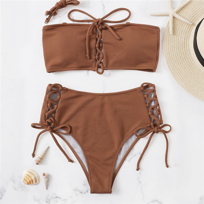 Top With Lace-up Bottoms Bikini Set 5