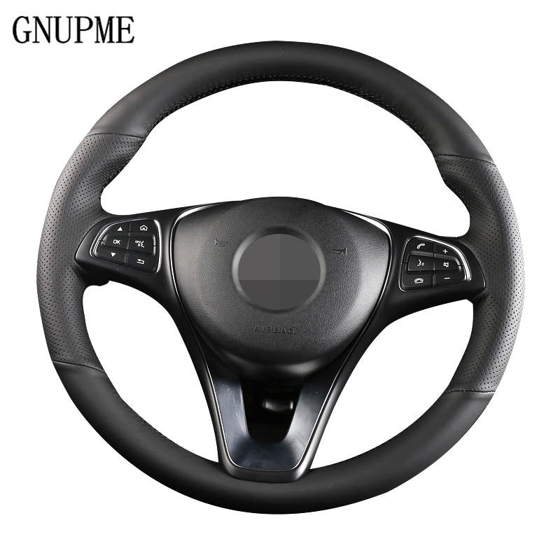 FITS TOYOTA PRIUS MK2 BLACK PERFORATED LEATHER STEERING WHEEL COVER CREAM STITCH