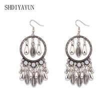 SHDIYAYUN 2017 Fashion Earrings High Quality Silver&Gold Color Tassel Female Vintage Drop Earring For Women Party Jewelry Gift(China)