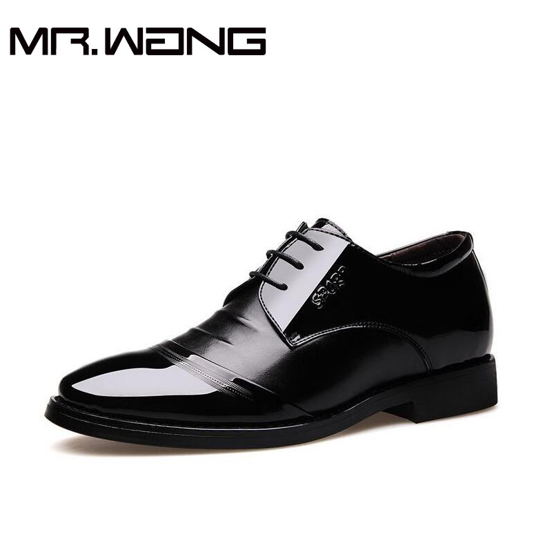 2017High Quality Men Dress Shoes Men Flats Black Leather Oxford Shoes Lace Up business wedding shoes
