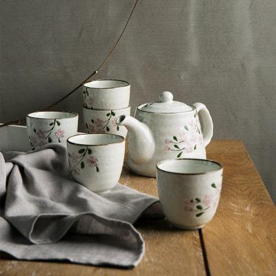Japanese Ceramic Tea Set Cherry Creative Blossom Series Tea Cup Teapot Cup [1 Teapot+6 Cups] Simple Ceramic Kung Fu Tea SetJapanese Ceramic Tea Set Cherry Creative Blossom Series Tea Cup Teapot Cup [1 Teapot+6 Cups] Simple Ceramic Kung Fu Tea Set