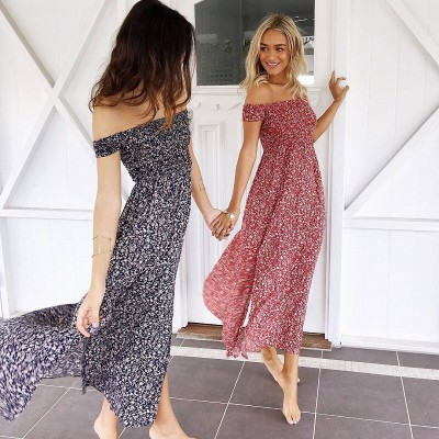 Summer new product sexy wrap one word shoulder floral dress long fashion dress floral