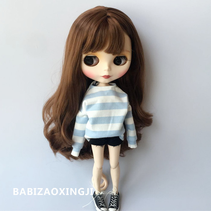 1/6 Blyth Doll Clothes Doll Accessories Fashion Striped T-shirt+ Short Jeans For 30cm Pullip Blyth 1/6 Doll Clothing For Barbie
