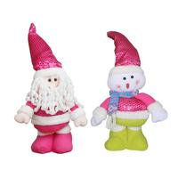 Pink Christmas Telescopic Doll Santa Claus Snowman Reindeer Decoration Xmas Tree Hanging Ornaments Pendant Gift