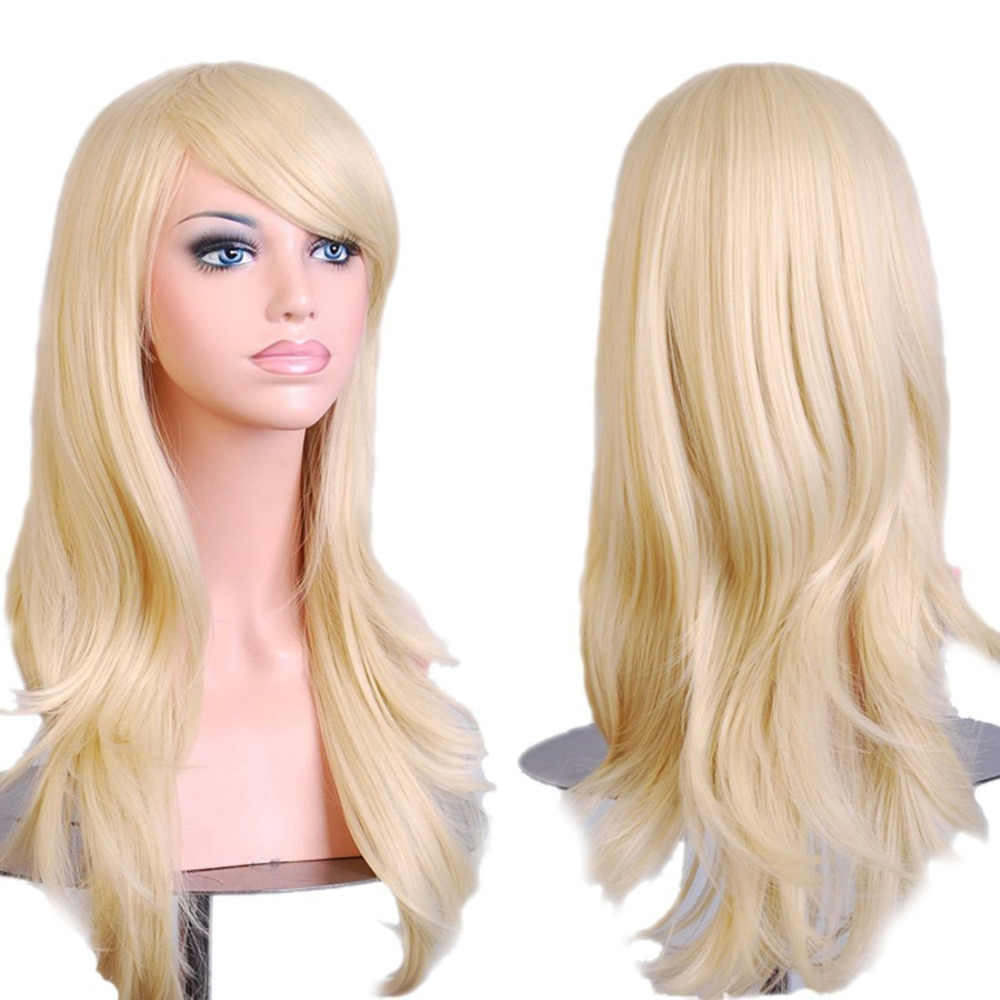"28 "" 70cm Anime Cosplay Big Curly Wig Halloween costume ball  (light golden)"