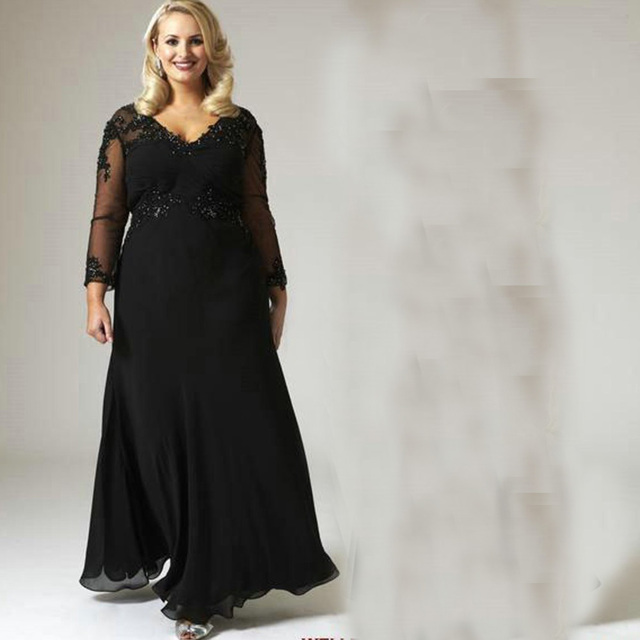 8f1756e4776 2015 Mother of the Bride Dresses for Plus Size Black A Line Chiffon With Long  Sleeves Appliqued Beaded Evening Groom For Fat