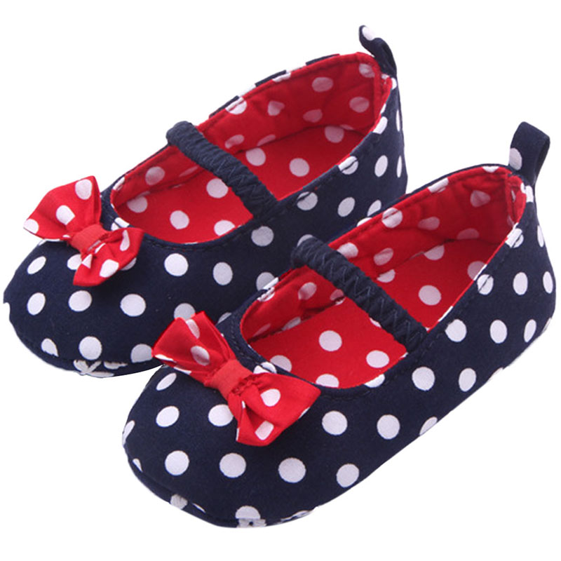 Baby Girl Soft Sole Baby Shoes Dots Bowknot Toddler Anti-slip Baby Shoes Newborn To 12m Baby Shoes