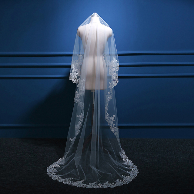 White Ivory 3 Meters Long Bridal Veil With Water Soluble Lace Edge Wedding Veil Wedding Accessories