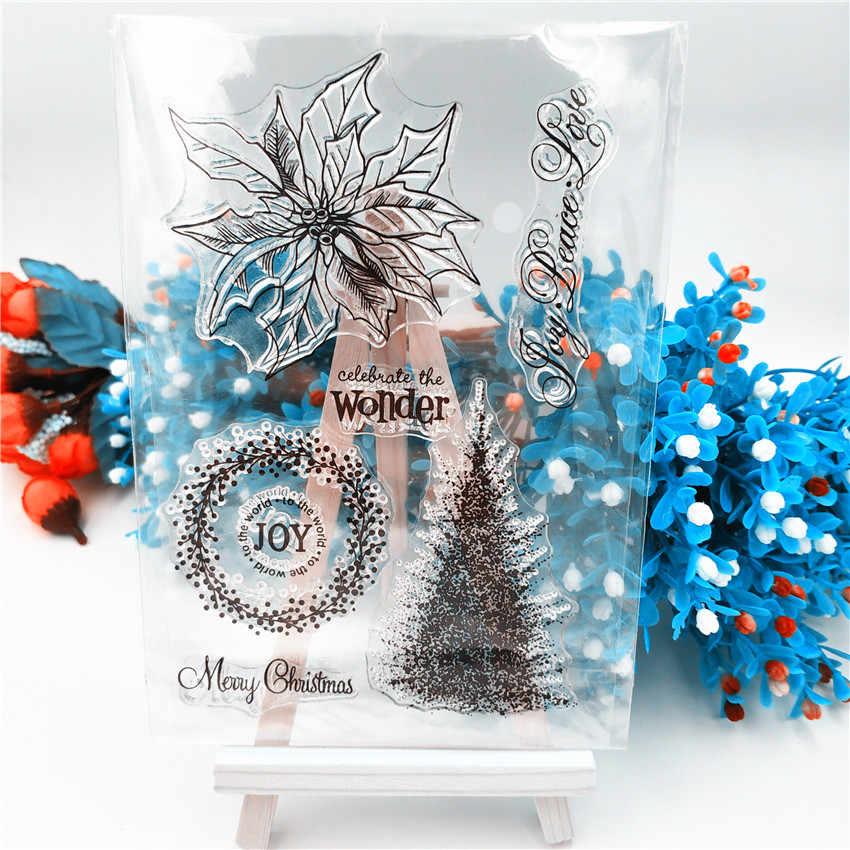 Offre spéciale arbre de noël Transparent tampons clairs/Silicone joints rouleau timbre pour bricolage scrapbooking album photo/fabrication de cartes