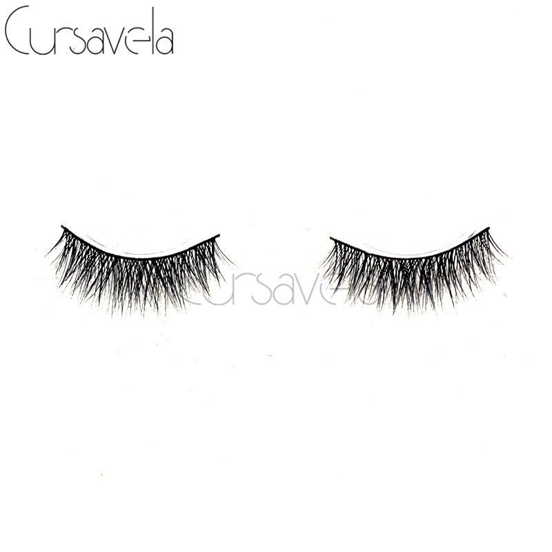 Cursavela 1 Pairs Real Mink Natural Long Tapered Makeup
