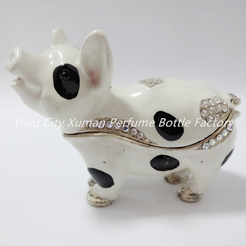Metal Pig Jeweled Jewelry Trinket Box home decor pewter ornament wild animal enameled keepsake box vintage collectible gift