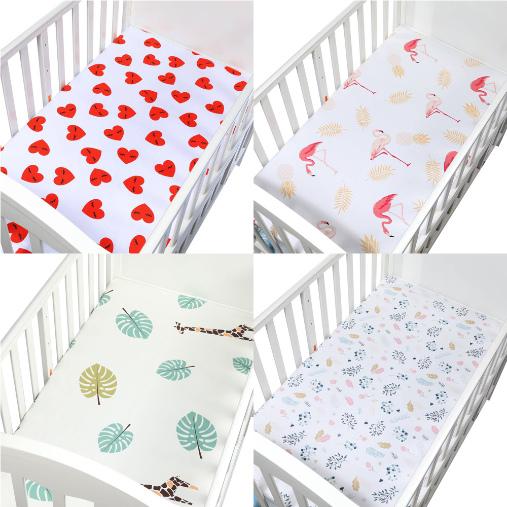 100% Organic Cotton Fitted Baby Crib Sheet Soft Cover Bedspread Woven Bedding Protector Newborn Baby Crib Fitted Sheet
