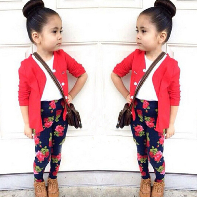baby girls clothes sets Spring cotton Children girls Clothing kids clothes suit coat + shirt+Rose flower pants 3 pcs