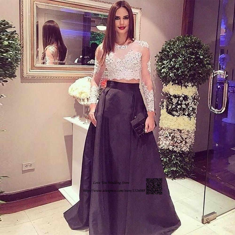 52edd84b326 Robe de Soiree Longue 2017 White Black Formal Evening Gowns Long Sleeve Two  Piece Prom Dresses