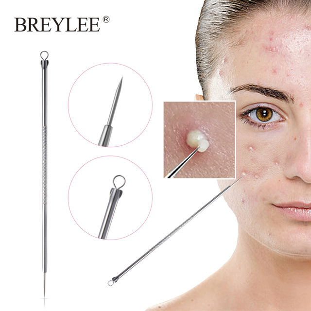 BREYLEE Acne Removal Needle Tools Blackhead Blemish Remover Pore Cleanser Face Black Mask Facial Skin Care