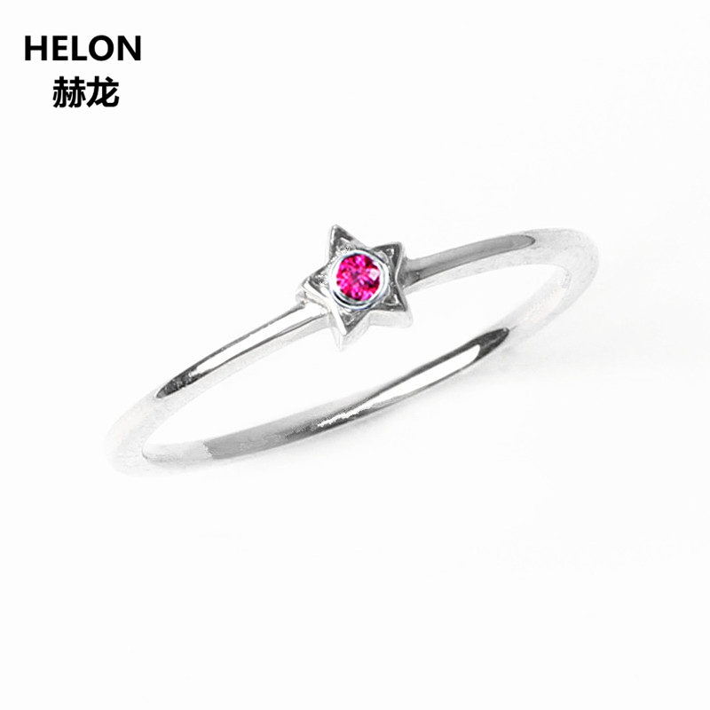 Solid 14k White Gold Natural Ruby Ring Wedding Band Anniversary Engagement Ring for Women Star Tomantic Cute Girl Gift natural ruby solid 14k white gold women girl engagement ring wedding band leaf art deco promise ring romantic cute thin